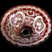 Festive Bohemian Ruby Cut to Clear Large Bowl