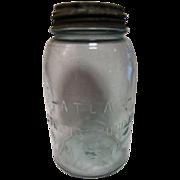 SALE Vintage Atlas Strong Shoulder Mason Aqua Quart Jar Porcelain & Zinc Lid