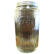 SALE 1940's Hoosier Glass Canister Jar with Aluminum Lid