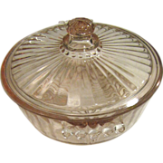 Pink Depression Glass Lidded Ribbed Candy Dish