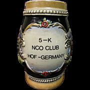 """German Stein with """"5-K NCO Club Hof Germany"""", 1 1/2 ltr"""