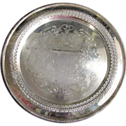 """Elegant 12 1/4"""" Diameter Ornate Silver Plated Tray by Wm. Rogers"""