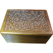 SOLD Chess Piece Storage Box, Carved Wooden with Sliding Base