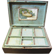 SALE Victorian Mahogany Jewelry or Work Box, Fitted Interior