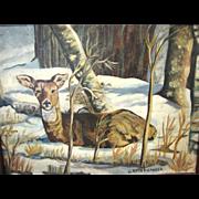 SALE Vintage Painting of Deer in Winter Woods, G. Roth Swanger