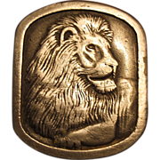 1976 Lion Head Pewter Belt Buckle Indiana Metal Crafts