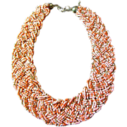 SALE Vintage Salmon & Gold Glass Micro Bead Woven Braided Choker Necklace
