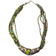 SALE Seed Bead Necklace with Enameled and Rhinestone Enhancer