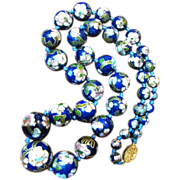 """SALE 24"""" Chinese Cobalt Cloisonne Bead Necklace, Knotted, Gilt Filigree Clasp"""