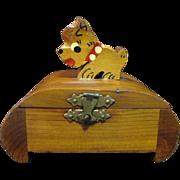 SALE Cute Deco Cedar Trinket Box with Scottie Dog Lid
