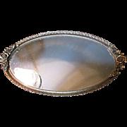 Large Vintage Gilt Filigree Mirrored Vanity Tray