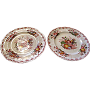 "Pair Masons Ironstone 10"" Dinner Plates, Fruit Basket Pattern"