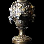 SALE Ornate Cast Bronze Victorian Urn with Playful Putti