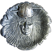 Early 1900's Indian Head Bronze Coated Spelter Souvenir Ashtray / Trinket Tray, Native America