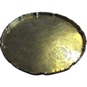 "SALE Antique 10"" Chinese Dragon Brass Tray"