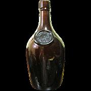 SALE 1880's Paul Jones Whiskey Bottle Louisville KY Amber Blown Glass Applied Seal, Excellent