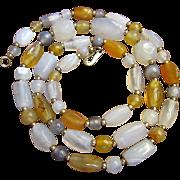 "SALE Beautiful Vintage Polished Agate Gemstone 30"" Necklace"