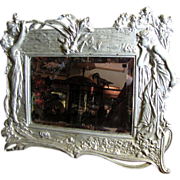 SALE PENDING Large Antique Art Nouveau Silver Gilt Mirror, Wall or Stand