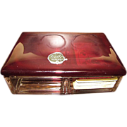 Anchor Hocking Royal Ruby Red Glass Cigarette / Card Box, Mint