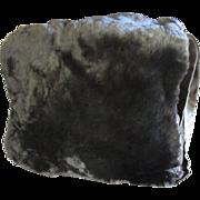 1940's Lavish Sheared Muskrat Fur Muff with Integral Bag