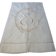 New Old Stock Pure Linen E Mono Finger Towel (2 available)