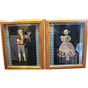 Pair of Folk Art Embroideries, Viennese Couple