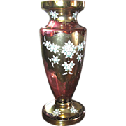 "SALE Huge 24"" Bohemian Gilt & Enameled Pink Glass Vase, Spectacular!"