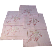 "5 Hand Embroidered Pink Pure Linen 18"" Napkins"