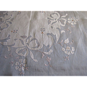 "Beautiful 40"" Square Peach Linen Batiste Apliqued Tablecloth"