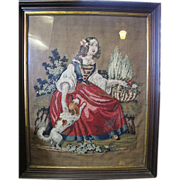 SOLD Large Antique Framed Wool Needlework of Lady with Dog
