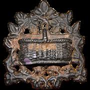 1868 Ornate Cast Iron Wall Match Safe