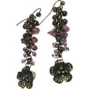 SALE Bronze Tone Dropper Earrings with Bead Festoons