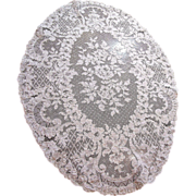 "Exquisite 22"" Oval Alencon Lace Doily, Floral Design!"