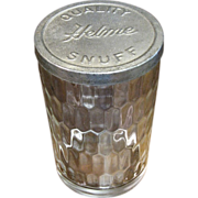 SALE PENDING Vintage HELME Quality Snuff Glass Swirl Jar, Marked Tin Lid