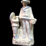 "Victorian Bisque Figurine ""A Peep Through His Telescope"""