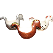 Three 70's Hand Painted Italian Art Pottery Ceramic Horse Bowls