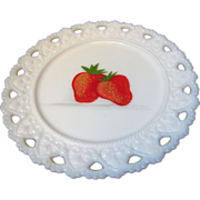 "Westmoreland 8"" Strawberry Painted Milk Glass Painted Fruit Plate"
