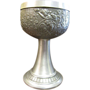 Ornately Decorated Vintage Pewter German Wine Chalice