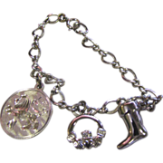 SALE Chrome Starter Charm Bracelet with 3 Sterling Charms