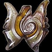 SALE Dichroic Glass Butterfly Pendant, Black, Gold & Silver Swirls