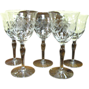 Five Hand Blown Wine Glasses with Cut Floral Swags