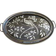 SALE Art Deco Metallic Brocade & Bronzed Gesso Tray, Bird of Paradise