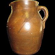 Circa 1850's Edgefield Alkaline Glazed Pottery Pitcher, Rare