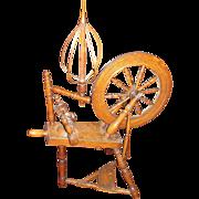 SALE Museum Quality 1806 Oak Flax Spinning Wheel. Original Bird Cage