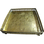"""Ornate Pineapple Design Reticulated 10"""" Square Footed Brass Tray"""