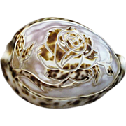 Hand Carved Cowrie Shell with Rose
