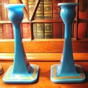 SOLD Beautiful Pair of Cambridge 1920's  Blue Azurite Candlesticks