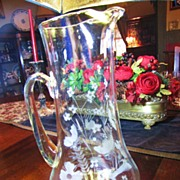 """Beautiful Huge 13"""" Etched and Cut Glass Pitcher with Flowers, Leaves!"""