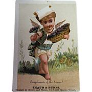 SALE Antique Trade Card circa 1900 - Compliments of the Season! Shaub & Burns