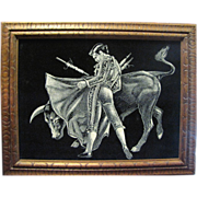 SALE Retro Matador Fighting Bull Painting on Velvet with Carved Wood Frame